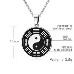 Ciondolo in acciaio inox chi online-Collana con pendente in metallo con tag in metallo in acciaio inossidabile Yin Yang