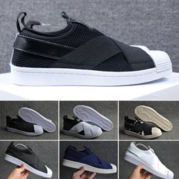 Wholesale mesh loafers women - Best Qualilty Summer SUPERSTAR SLIP ON Sandals Loafers For Men Women head crossed strap black and white unisex sneakers 36-44