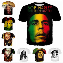 Wholesale bobs styles - Fashion Clothing Reggae Star Bob Marley Casual T-Shirt Women Men 3D T-shirt Harajuku t shirt Summer Style Tops 2017.8.13.019