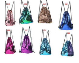 Wholesale Wholesale Sports Backpacks - Sequins Backpacks Bags Mermaid Sequin Drawstring Bags Reversible Paillette Outdoor Backpack Glitter Sports Shoulder Bags Travel Bag