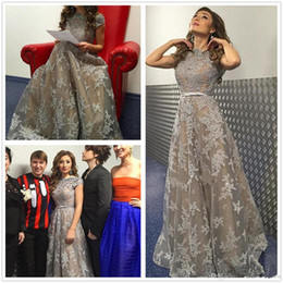 Wholesale Red Short Reception Dress - New Middle East Prom Evening Dresses 2017 High-neck Silver Appliques Ruffles Tiered Long Floor Length Party Reception Dress