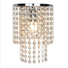 Wholesale Light Fixture Shade Crystals - Modern Crystal Wall Lamp Sconce K9 E14 Bed room Stairs Aisle wall light fixture shade for Home Decor Luminaire Crystal Wall Crystal Light