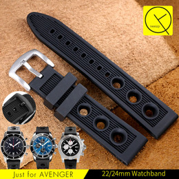 Wholesale 22mm Silicone Band - YQ Watchband 22mm 24mm Black Waterproof Diving Silicone Rubber Watch Band Strap Silver Stainless Steel Pin Clasp for Breitling Watch Man