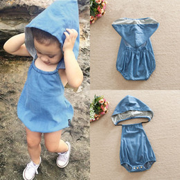 Wholesale Baby Boys Denim Shorts - Wholesale- 2016 Newborn Kids Baby Girls Infant Clothes Hooded Cute Cotton Backless Rompers Summer Denim Jumpsuit Summer Clothing