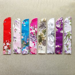 Wholesale Hand Crafted Bags - 23cm Arc Opening Multicolor Blossom Flower Printing Exquisite Handmade Craft Wedding Hand Fan Silk Satin Storage Gift Bag ZA3455
