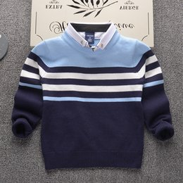 Wholesale Boys Stripe Collared Shirts - 2017 Autumn Winter Shirt collar stripe Kids Boys Sweater Children Clothing Fight color boy Cotton thick wool top Jumper Pullover
