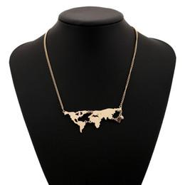 3db21a2256e9 Mapa del mundo de la moda collar de color oro grande declaración larga  Joker Al por mayor Bohemia de la aleación máxima de plata plateó collares  pendientes ...