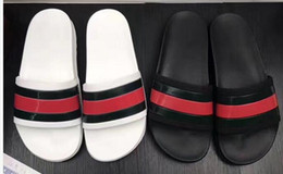 Wholesale Black Pvc - NEW Europe Brand Fashion mensstriped sandals causal Non-slip summer huaraches slippers flip flops slipper BEST QUALITY