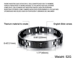 Wholesale Titanium Health Bracelets - Health Energy Bracelet Bangle English Bible Titanium Stainless Steel Cross Letter Prayer Bracelets for Men Black Jewelry