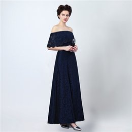 Wholesale Short Strapless One Shoulder Dress - Free Shipping Long Elegant Prom Dresses Vestido Longo Festa 2017 Strapless Sexy Split Dark Blue Lace Evening Gowns
