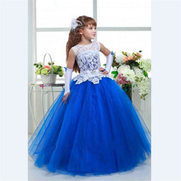 Wholesale Embroidery Dresses For Evening - 2018 Lavender Flower Girl Dress ball gown Tulle sashes Beaded Kid Evening Gown Pageant Dresses for Little Girls vestido daminha