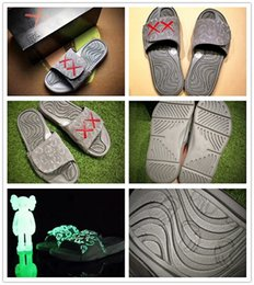 Wholesale Buckle Slides - Hot 2017 Summer KAWS x Airs Cool Grey XX Retro 4 Night Light Suede Slippers Hydro IV 4s Sandals Mens Sports Casual Slides Slipper US 7-12