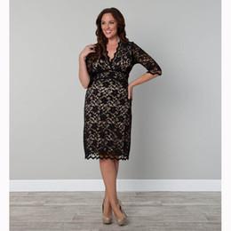 Wholesale Sexy Casual Dresses Plus Size - Plus Size Lace Midi Dress Women Office Wear Sexy Black Deep V Half Sleeve Casual Club Lace Vestidos W846061