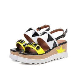 Wholesale Thick Sole Wedge Platforms - Women High Heels Fashion Platform Wedge Sandals Summer Thick Sole High Heeled Sandals Sexy Slingback Shoes