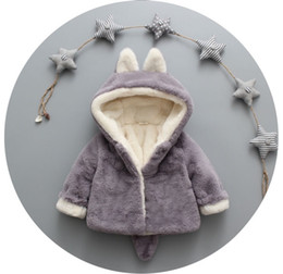 Wholesale Cute Toddler Girl Coats - Winter Warm Baby Clothes Infant Newborn Kids Clothing Girls Boys Cute Fox Outwear Coat With Rabbit Fur Toddler Dresses