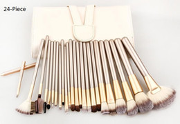 Wholesale 18 Piece Makeup Brush Set - 12 18 24 Piece Makeup Brushes Set | Horse Hair Professional Cosmetics Foundation Makeup Brushes Set Kits with White Cream-colored Case Bag