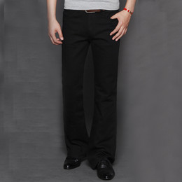 Wholesale Long Boot Men - Wholesale- High Quality Brand Promotion Men's Large Size 28-38 Boot Cut Jeans Male Hige Waist Business Long Pants flares Trousers MB16257