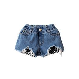Wholesale Korean Jeans Wholesale - Hug Me Girls Shorts Jeans Kids Pants 2017 Summer Hole Jeans Korean Fashion Tassels Short DR-139