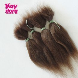 """Wholesale Doll Wigs Hair Long - 15cm   6"""" Dolls Accessories 100% Pure Mohair For DIY Reborn Baby Dolls Reborn Baby Doll Hair Wigs 13 g Long Hair Gold Brown"""