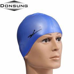 Wholesale Ear Protector Hats - Wholesale- Professional Waterproof Adults Unisex Silica Gel Ear Protection Swimming Cap Men Women Silicone Swim Cap Pool Hat Ear Protectors