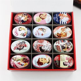 Wholesale Vintage Jewelry Wholesale Europe - 24pcs box Small Storage Box Vintage Lady Printing Oval Shape Candy Box Handmade Soap Case Mini Tin Jewelry Box Small Pill Case