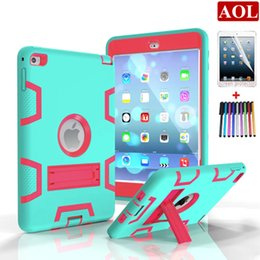 Wholesale Ipad Silicone Covers - For iPad mini 1 2 3 4 Hybrid Defender Case 3in1 Shockproof Armor Silicone + Plastic Stand holder Hard Combo Robot Case Cover