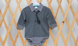 Wholesale long sleeve new baby bodysuit - New Baby Boy Romper Gentlemen Tie Long Sleeve Cotton Spring Infant Boy Bodysuit Children Kids Onesies