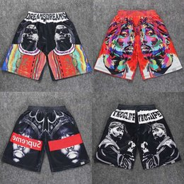 Wholesale Dream Boards - Wholesale-Men Boardshorts Shorts thuglife 2Pac Tupac American gangster Rap notorious b.i.g Dreams biggie smalls hip hop board shorts