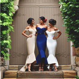 Wholesale Hemline Lengths - Chic Mermaid Bridesmaid Dresses Off-Shoulder Sweetheart Bow Ribbon Long Evening Gown Asymmetrical Ruffles Hemline Maid of Honor Dress