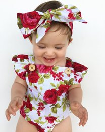 Wholesale Toddlers Ruffled Romper - Fashion Baby Clothes Suits 0-24M Floral Kids Girl Hot Red Romper Summer Ruffles Halter Rompers Headband Outfit Toddler Cotton Clothing Set