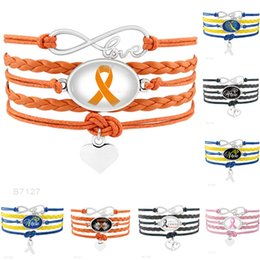 Wholesale Cancer Awareness Ribbon Charms - (10 PCS lot) Infinity Love Warrior Down Syndrome Brain Cancer Awareness Hope Butterfly Ribbon Heart To Heart Leather Bracelets for Men Women