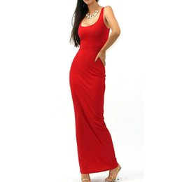 women long stretch maxi dresses 2018 - Brief Style Design Women Stretch Long Maxi Summer Dresses Minimalist Casual Solid Sleeveless Tank Sheath Slim Grown Dress 801