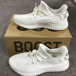 Wholesale Womens Flat Boots Wholesale - 2017 Originals Boost 350 V2 Mens and Womens CP9366 Boost in Triple White 350 V2 Fashion Core Black Red Running Shoes With Box
