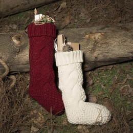Wholesale Striped Santa Socks - Christmas Santa Claus Knitted Socks Boot Candy Gift Bag Christmas Stockings Socks Tree Hanging Decor OOA3657