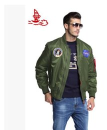 Wholesale American Bomber - MA-1 Navy flying jacket Nylon Thick Winter letterman varsity american college bomber flight jacket for men free shipping