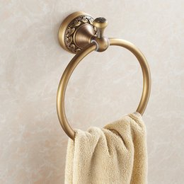 Wholesale Towel Ring Bathroom Accessories - Antique Copper Circular Towel Holder Towel Ring Rack Bathroom Accessories High Quality Bath Towel Holder Bathroom hardware
