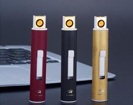 briquets latéraux Promotion Nouveau 6 styles USB Rechargeable Sans Flamme Électrique Briquet Rond Double face Cigarette Coupe-Vent Cigare Métal Briquet Outils À Fumer