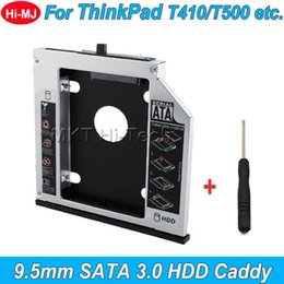 """Wholesale Lenovo Thinkpad Wholesale - Wholesale- 2016 Aluminum SATA 3.0 2nd HDD Caddy 9.5mm for 2.5"""" SSD Case HDD Enclosure for Lenovo ThinkPad T400 T500 W500 T410 etc. CD-ROM"""