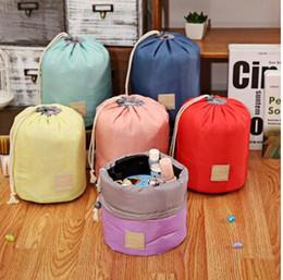 Wholesale Green Barrels - 2016 Arrival Barrel Shaped Travel Cosmetic Bag Nylon Polyester High Capacity Drawstring Elegant Drum Wash Bags Makeup Organizer Storage Bags