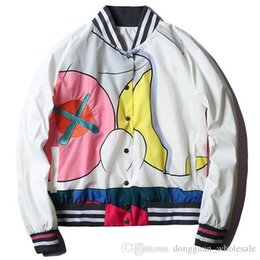 Wholesale Men S Short Jacket Style - 2017 brand autumn Mira Mikati x Kaws women men unisex baseball jacket designer colourful print short style bomber jacket coat