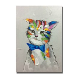Wholesale Beautiful Items - Free shipping 2016 cheap price promotional items hand painted animal cat oil painting beautiful wall hanging pictures
