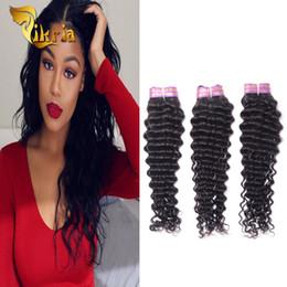 tessuto indiano dei capelli umani Sconti Deep Wave Weave 3 Bundles Capelli vergini brasiliani, fasci di capelli umani di colore nero naturale Indiani peruviani Malesi Non Remy Hair