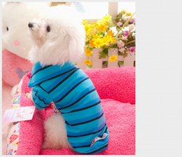 Wholesale Male Gradient Shirt - Teddy Clothes Stripe Gradient Color Clothes fFor Small Pet Spring And Summer T Shirts Suit Teddy Poodle Four Sizes Choice Cotton Material