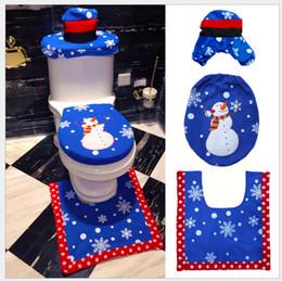 Wholesale Cap Radiator - 5pcs Household Christmas Santa Claus Cloth Toilet Foot Pad Cover Toilet Seat Cover Radiator Cap Cover Decorations Bathroom Set