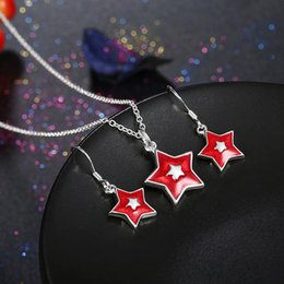 Wholesale Discount Jewelry China - [Star Love] Christmas theme - red & white five - pointed star necklace earrings two - piece jewelry Limited time discount