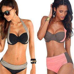 Wholesale Leopard Women S Bikini Swimwear - Bikini 2017 New High Waist Swimwear Women Sexy Bench Swimsuit Bathing Suit Push Up Brazilian Biquini Maillot De Bain BK127