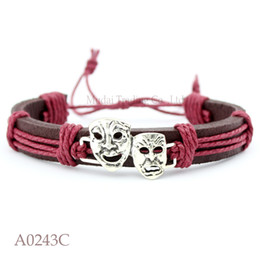 Wholesale Leather Masking - ANTIQUE SILVER Drama Mask Charm Adjustable Leather Cuff Bracelets Comedy and Tragedy Punk Casual Friendship Wristband Jewelry