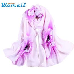 Wholesale Thin Scarf Men - Wholesale- Womail Fashion thin Shawl turban Scarf Chiffon Floral print Hijab Neck Warmer Silk Scarf Women Girls 50*160 Gift 1pcs