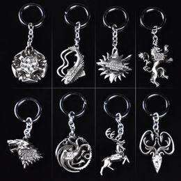 Wholesale Good Metal Toys Car - Game of Thrones Jon Snow targaryen keychain New Metal Game of Throne family logo key Car chain ring party supply decoration