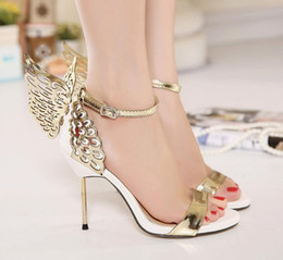 winged sandals Promo Codes - 2017 Summer Sophia Vampire Diaries fantasy butterfly wing high heel sandals gold silver wedding shoes size 35 to 40